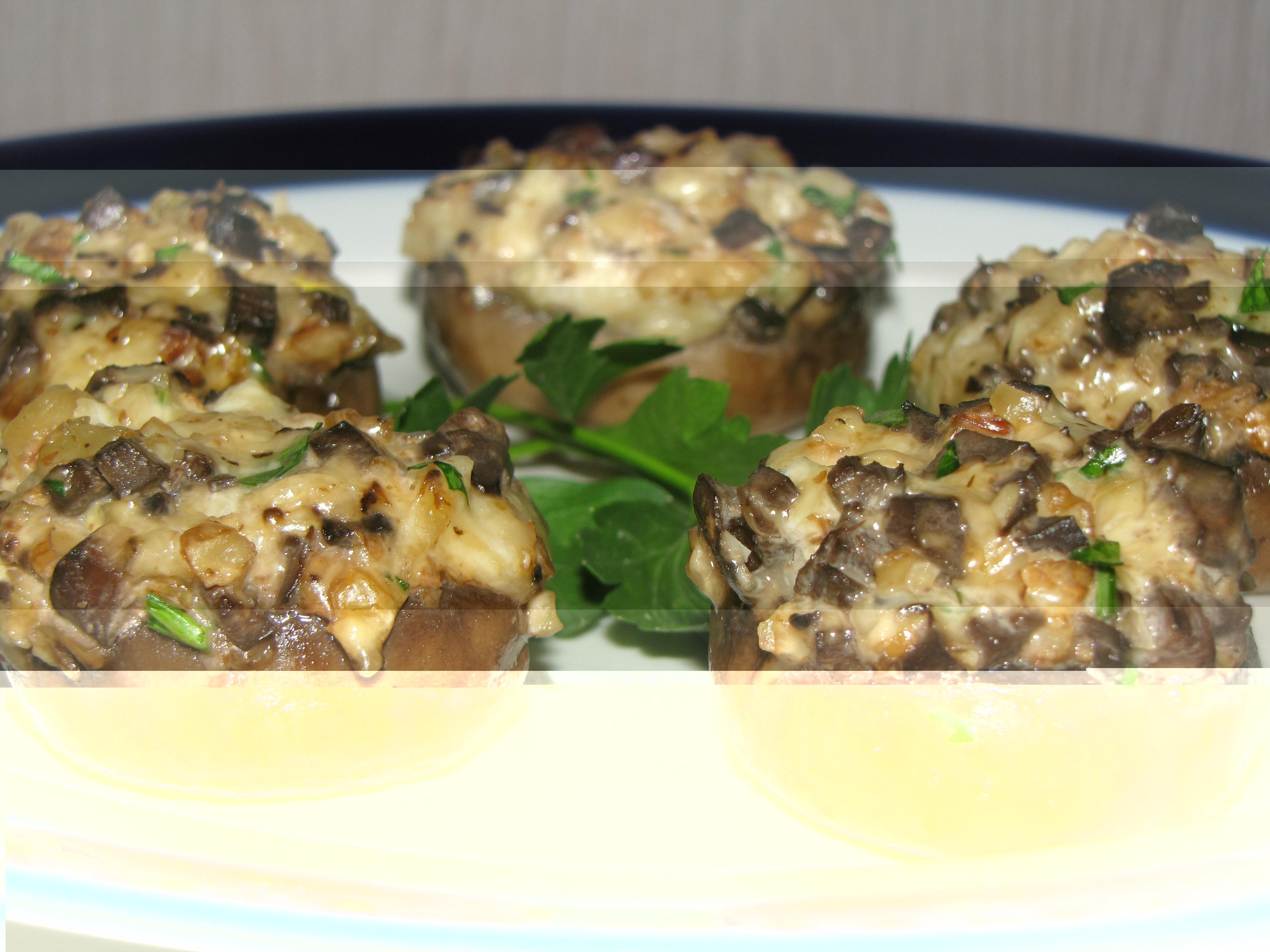шампиньоны рецепт и Фаршированные в фото с сыром ветчиной духовке с