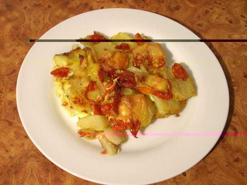 Рецепт приготовления картофельной запеканки с сыром :