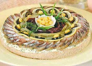 Торт бутербродный  с копченой рыбой, новогодняя закуска
