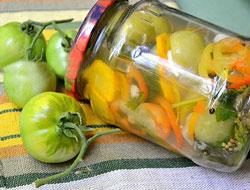 Салат из зелёных помидоров на зиму очень вкусные