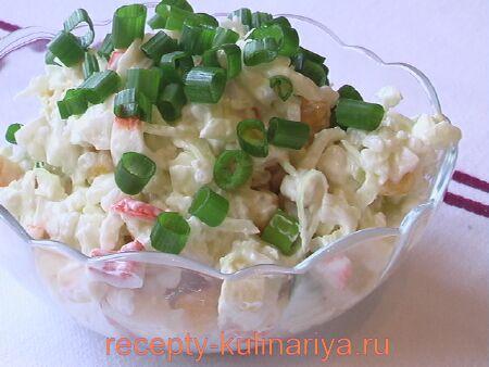 Салат из крабовых палочек с кукурузой  и рисом рецепт