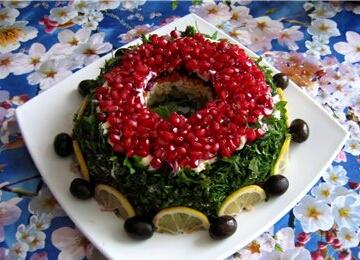 """Рецепт приготовления блюда """" Салат гранатовый браслет :"""