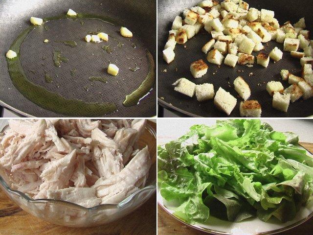 """Салат """"Цезарь"""" с курицей - классический простой рецепт в домашних условиях"""