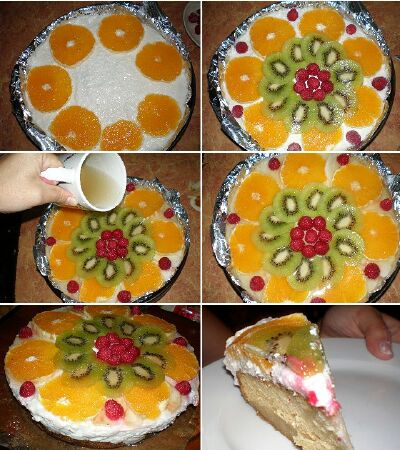 Торт с заливными фруктами с фото