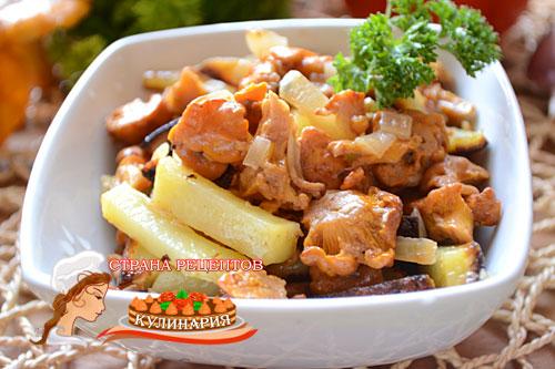 жаренеая картошка с лисичками